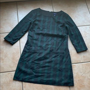 Gap Black & Green Plaid 3/4 Sleeve Dress Size 4